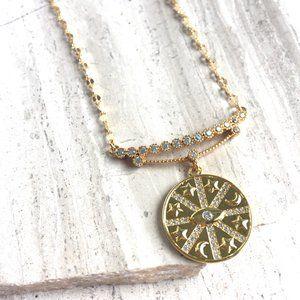 CZ bar w/ Gold medallion / Moon Star Protective Eye Necklace